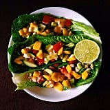 Even fruit tastes good in lettuce wraps! This is a simple mix of brown rice and spicy mango salsa.