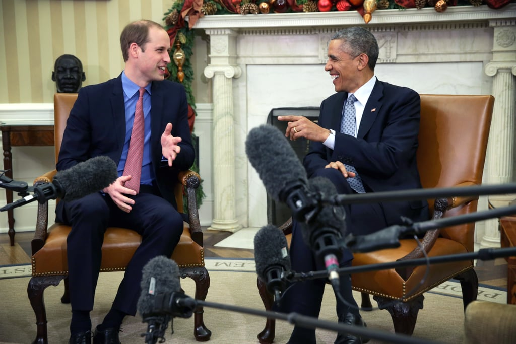 """Prince William made his way to the White House on Monday, visiting with President Barack Obama in the Oval Office as part of Will and Kate's official visit to the US this week. While Kate stayed in New York for the first part of the day, William spent time in Washington DC to attend the International Corruption Hunters Alliance conference, making a stop at the White House to meet with the president. Prince William reportedly joked with Obama about Prince George's birth and the gender of royal baby number two, saying, """"Last time, I remember when George was born, I forgot to actually work out if it was a boy or a girl. The excitement of the event and everything else was just chaos . . . It's going to be interesting next year. A busy year next year."""" See pictures of the pair's Oval Office meetup, then check out Will and Kate's photogenic arrival in NYC, plus their cutest snaps of the year!"""