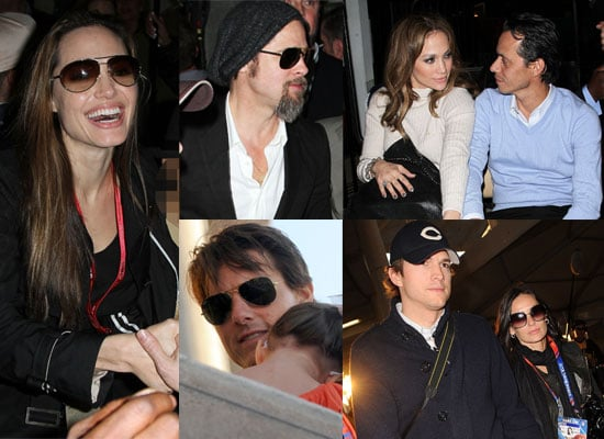 Photos of Angelina Jolie and Brad Pitt at 2010 Super Bowl and Demi Moore, Ashton Kutcher, Jennifer Lopez, Marc Anthony, Rob Lowe 2010-02-08 01:15:00