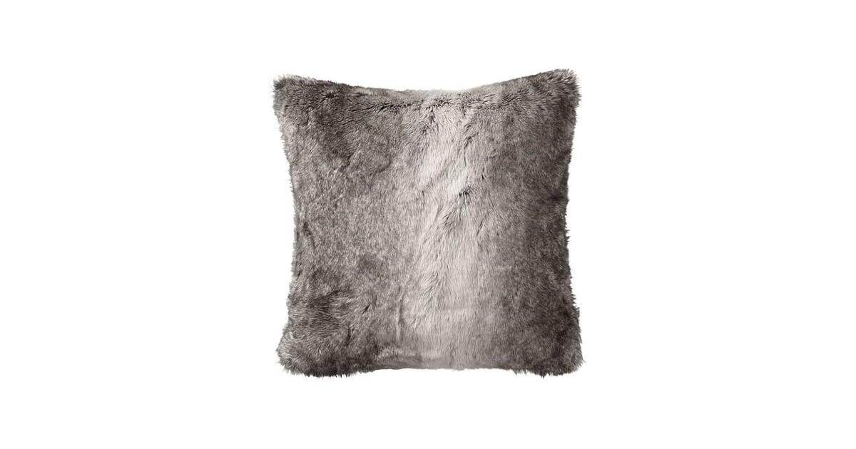 Pottery Barn Faux Fur Pillow Cover 46 Gray Bedroom Popsugar