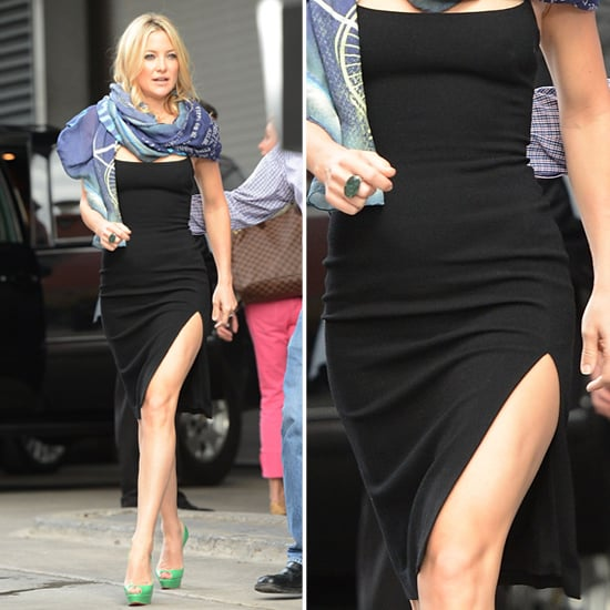 Kate Hudson Wearing Black Dress With Slit | POPSUGAR Fashion