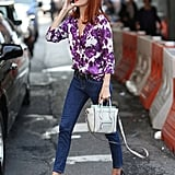 Classics with a burst of color, that's Taylor Tomasi Hill's take on polished denim.