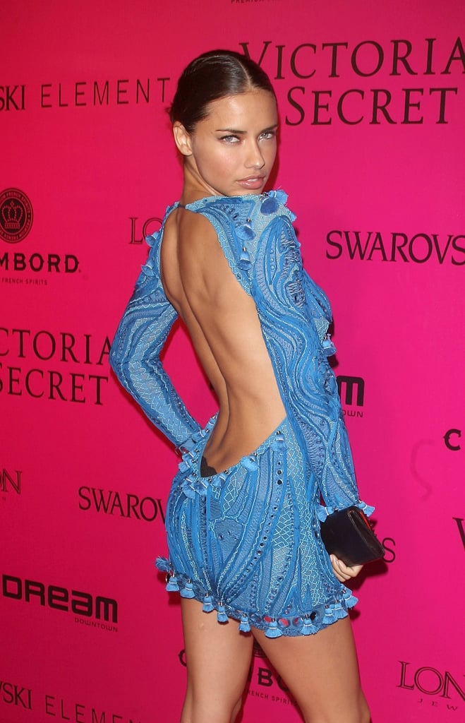 Adriana Lima wore a backless dress to the Victoria's Secret Fashion Show afterparty.