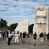 Tourists gathered at the MLK memorial after it was reopened.