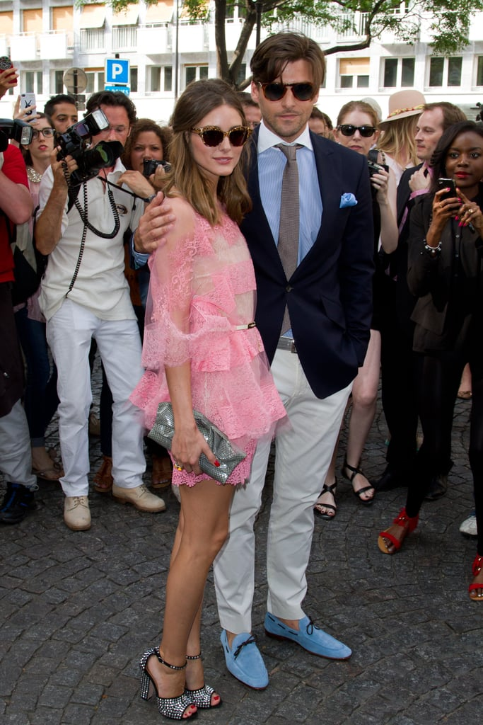 The couple showed their support for Valentino in the label's designs at Fall 2012 Haute Couture Fashion Week.