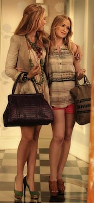 Blake Lively as Serena van der Woodsen in Twelfth Street Dress With Nancy Gonzalez Bag