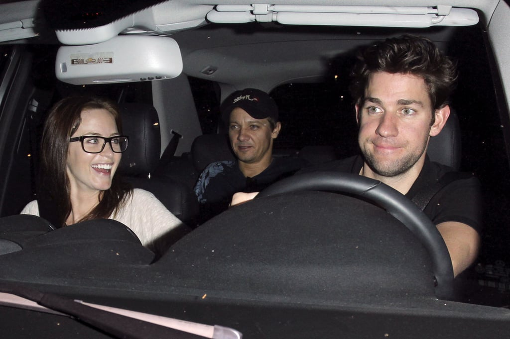 Emily Blunt and John Krasinski shared a laugh in the car as they left the Chateau Marmont with pal Jeremy Renner in the backseat last night. Emily and John's LA evening with Jeremy was in the perfect location, since John Krasinski will star in HBO's Life at the Marmont. The miniseries will follow different stories about guests who have stayed at the famed Hollywood hotel throughout the years and will be directed by Aaron Sorkin. Emily has her own new project in the works that will see her on the big screen alongside Colin Firth in an as-yet-untitled dark comedy. In addition to her upcoming film, Emily has The Muppets coming out this year, and Jeremy will make his Mission Impossible debut in December.