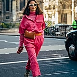 Bring a Light Feel to Your Snake Print Boots With a Hot Pink Jumper