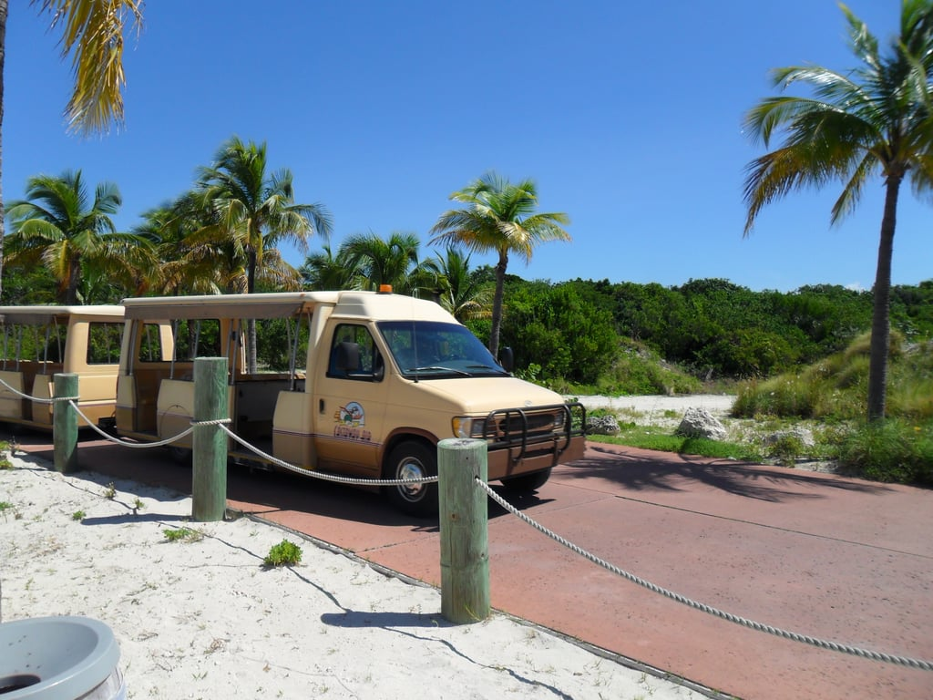 You can use trams to get around Castaway Cay.