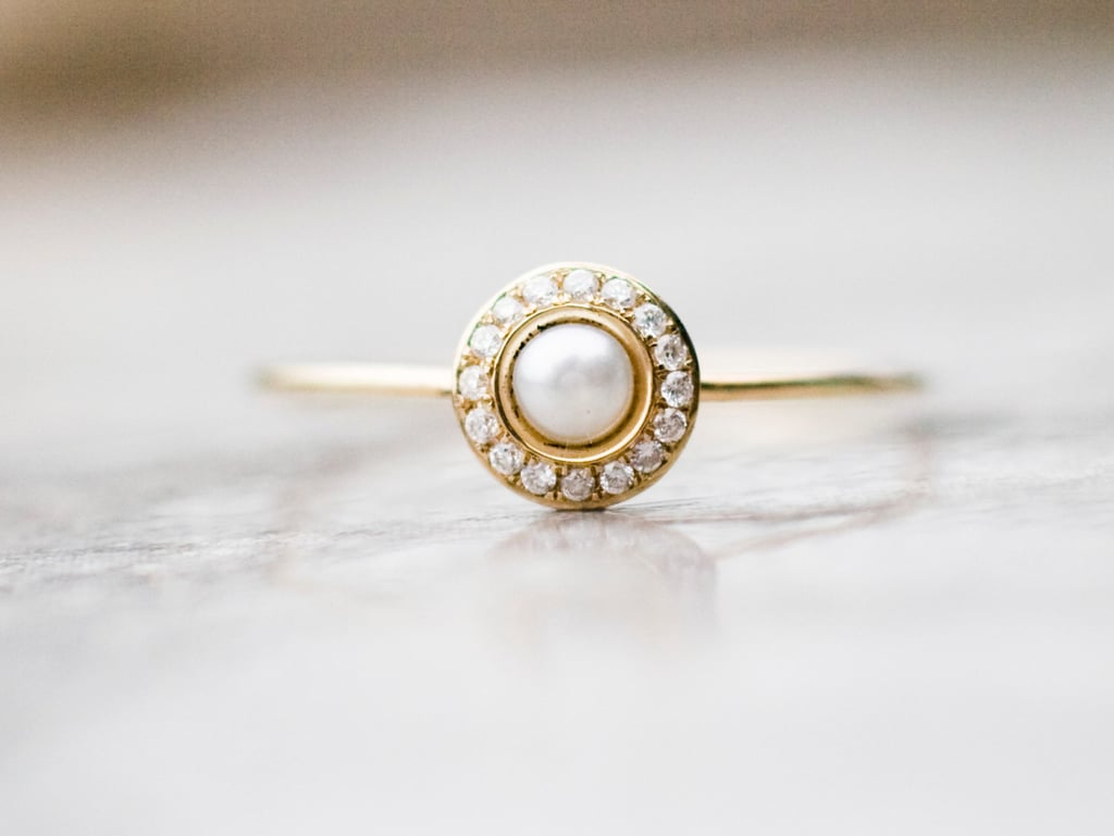 White Pearl Wedding Ring With Diamonds ($536) | Pretty Engagement ...