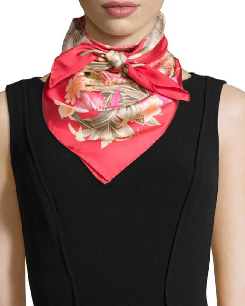 Salvatore Ferragamo Ginkos Print Foulard Silk Scarf ($266)