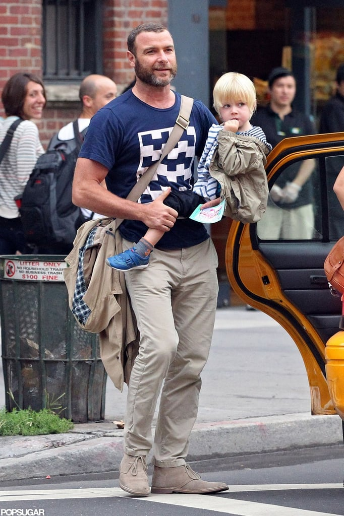 Liev Schreiber stepped out of a taxi in NYC with Kai Schreiber.