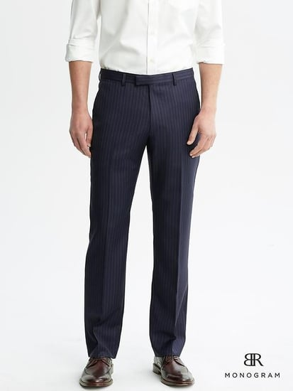 BR Monogram Navy Pinstripe Wool Suit Trouser