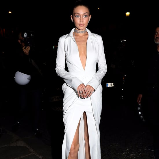 Gigi Hadid White Brandon Maxwell Dress in Paris