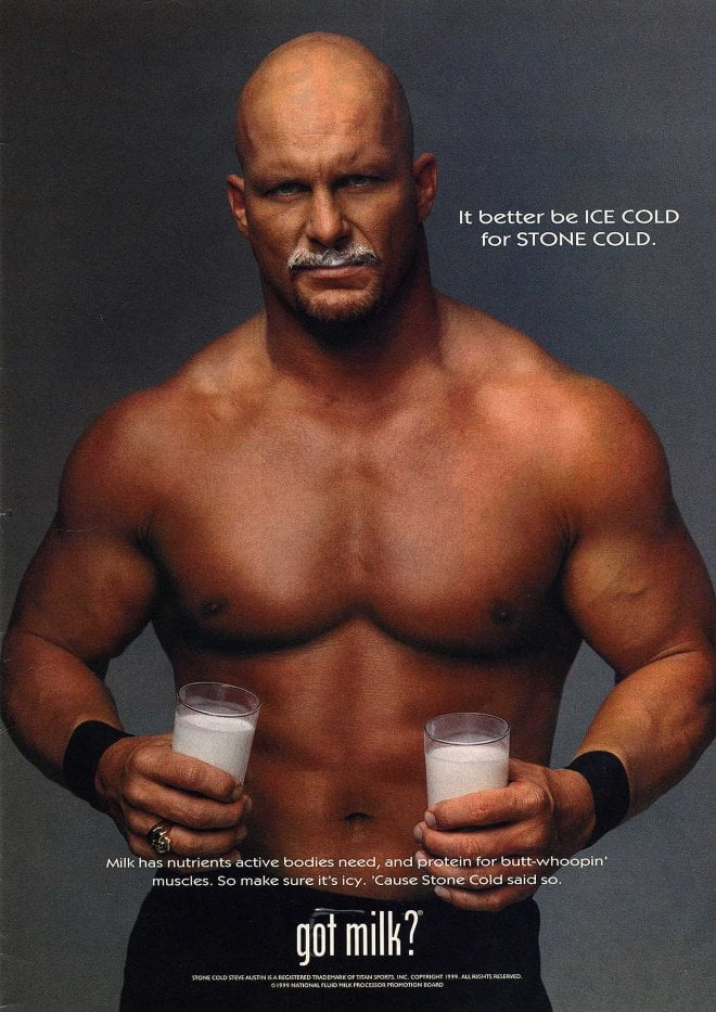 Wrestler Stone Cold Steve Austin doubled up on glasses, because obviously.