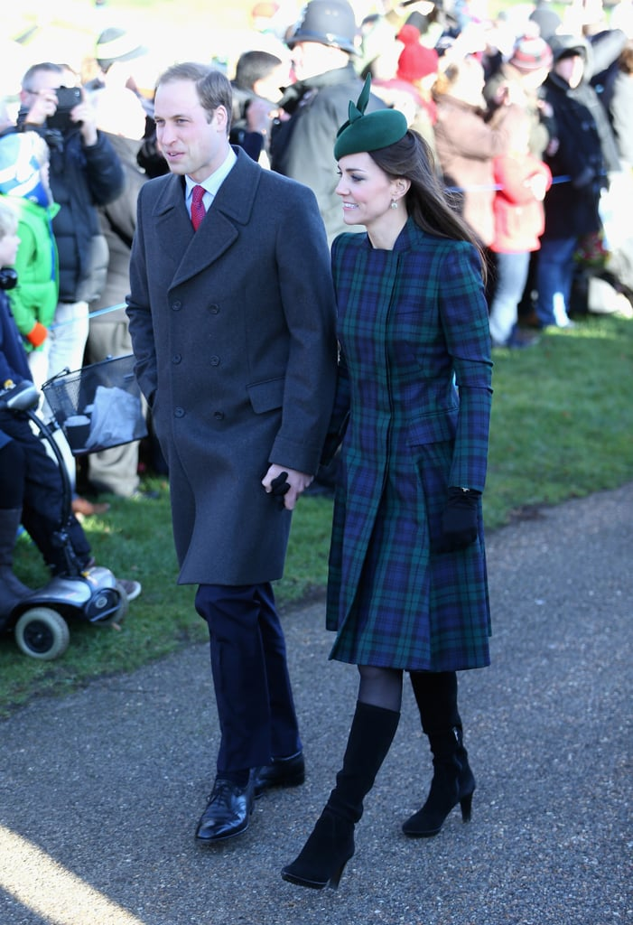Although Kate's colors were different in the McQueen number that she wore on Christmas Day in 2013, there were similarities between the long-sleeved wintry two-pieces.