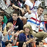 David, Cruz, Romeo, and Brooklyn Beckham cheered on Team GB.