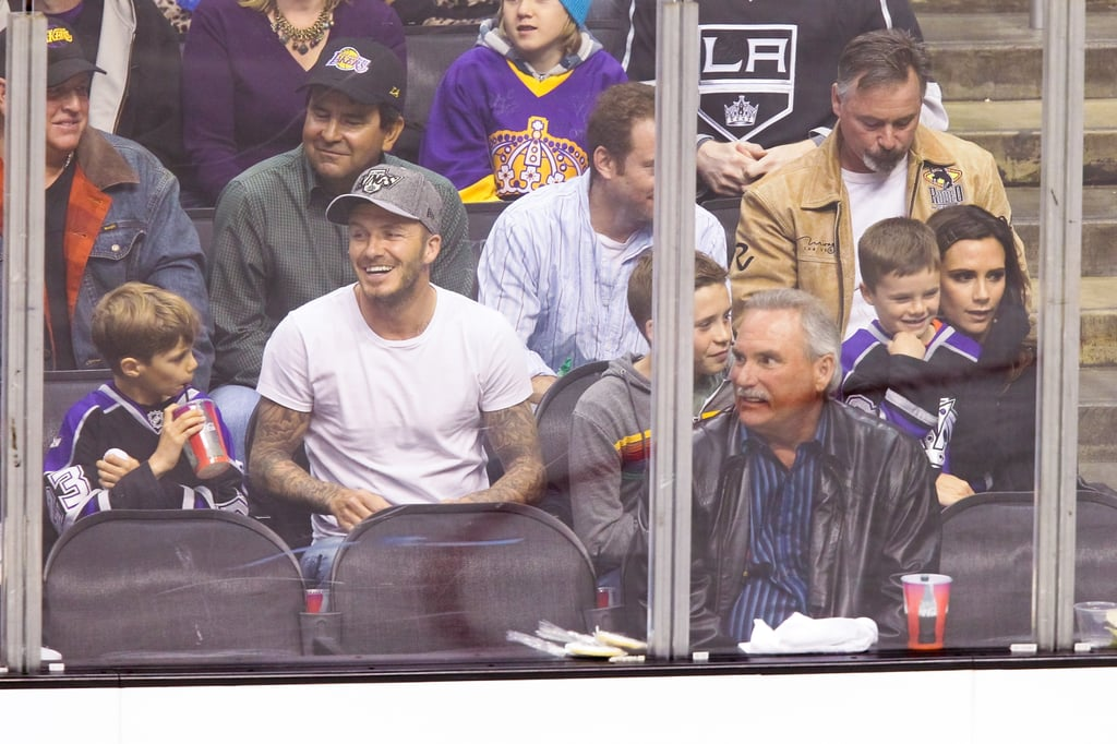 Victoria and her boys watched the LA Kings play in April.