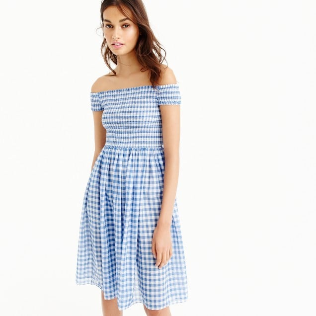 J.Crew Smocked Off-the-Shoulder Gingham Beach Dress | Off-the ...