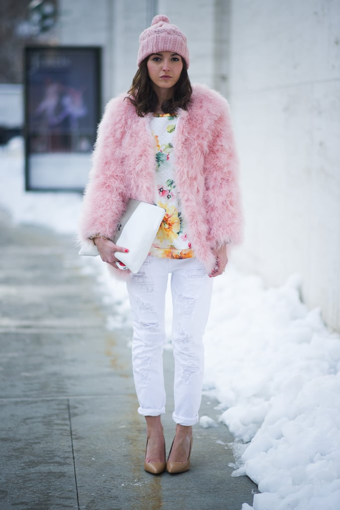 What's a sweeter way to bundle up than in powder pink?