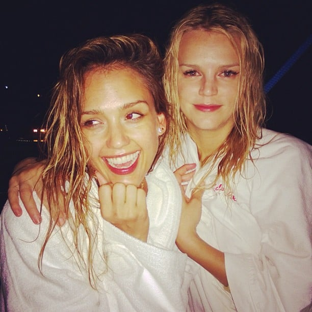 """Jessica Alba and Kelly Sawyer """"survived"""" midnight snorkeling during their vacation in St. Barts. Source: Instagram user jessicaalba"""
