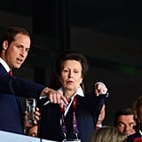 Prince William and Princess Anne pointed from their seats.