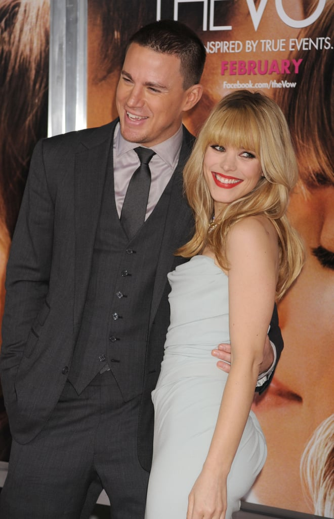 Channing Tatum joined his smiley co-star, Rachel McAdams, at their LA premiere of The Vow in February 2012.