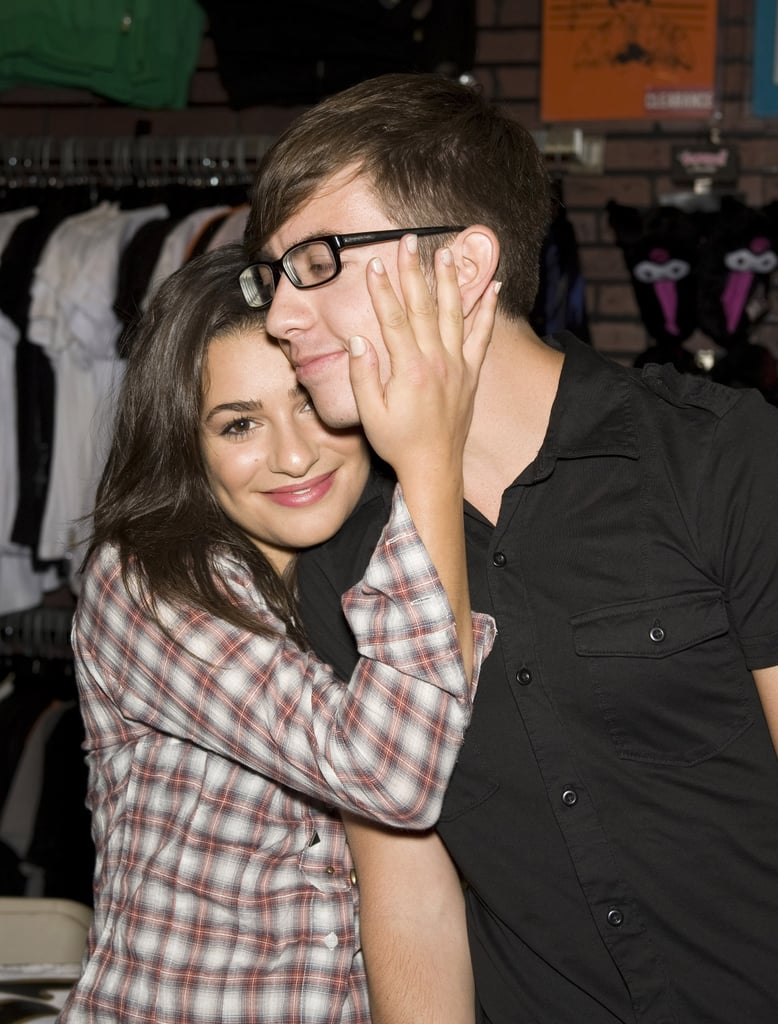 A fresh-faced Lea shared a sweet moment with her Glee costar Kevin McHale during a Pennsylvania mall event in August 2009.