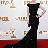 Outstanding supporting actress in a miniseries nominee Evan Rachel Wood wore a floor-skimming black dress.