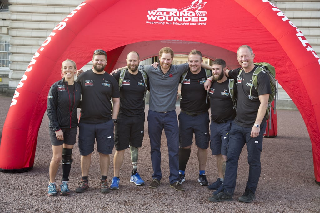 Prince Harry Meets Veterans From the Walk of Britain