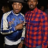 "Pharrell met up with Jamie Foxx at the party celebrating his Oscar-nominated single, ""Happy,"" in LA on Thursday."