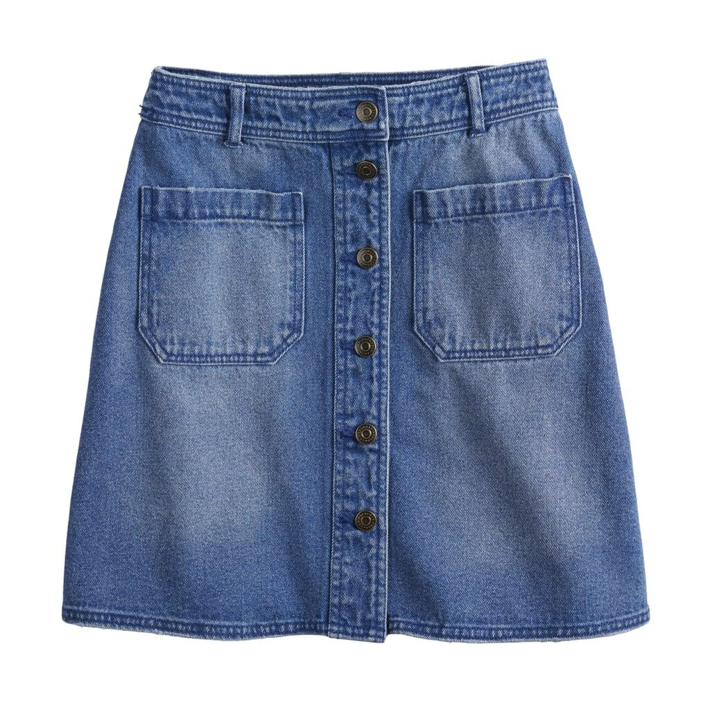 POPSUGAR Collection at Kohl's Button-Front Denim Mini Skirt