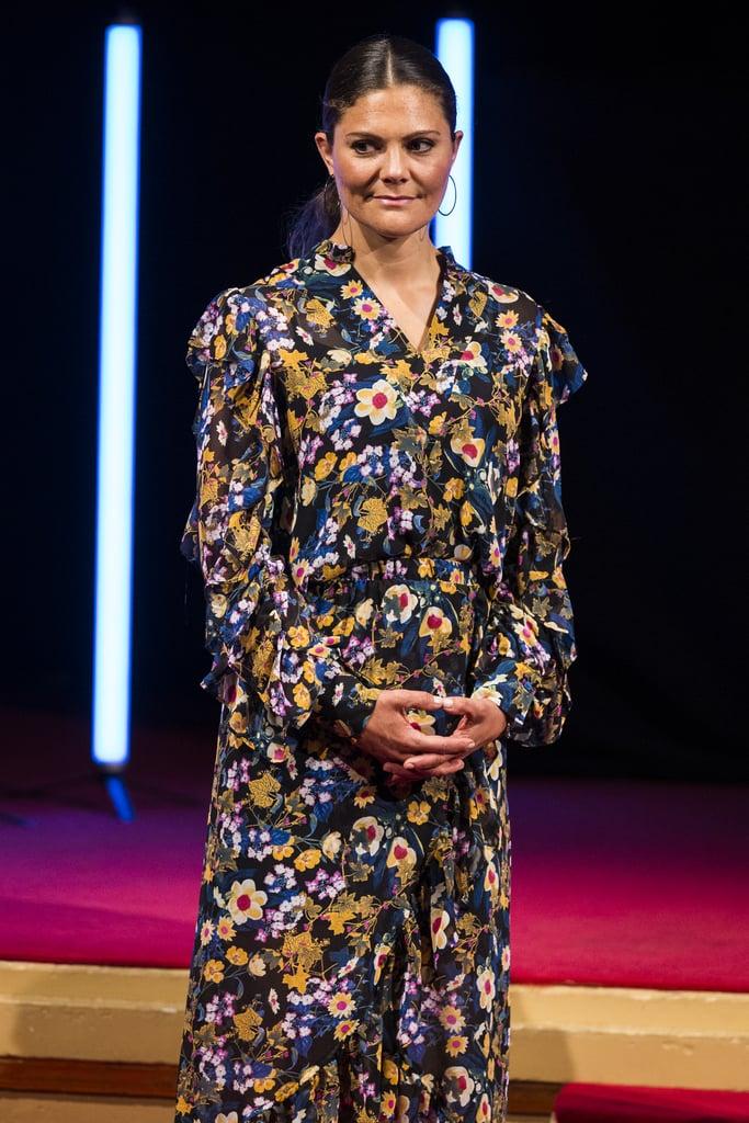 Princess Victoria in the Floral Gestuz Dress