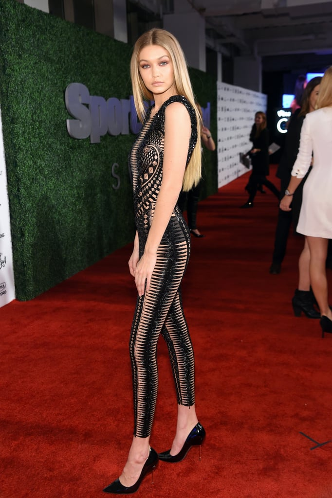 Gigi Hadid Sheer Black Jumpsuit at Sports Illustrated Event