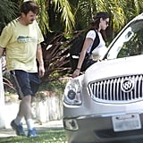 Kristen Stewart walked to a car.