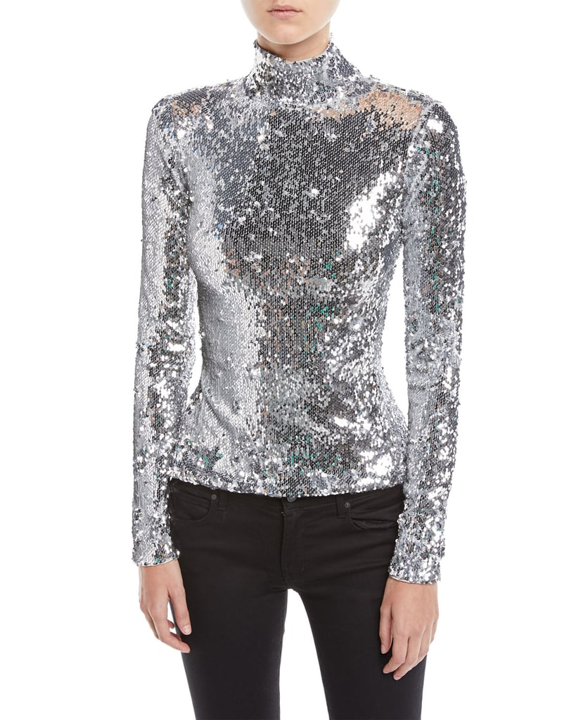 Milly Sequined Long-Sleeve Turtleneck Top
