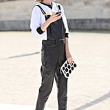 Ankl-strap heels gave these tomboy overalls a feminine finish.