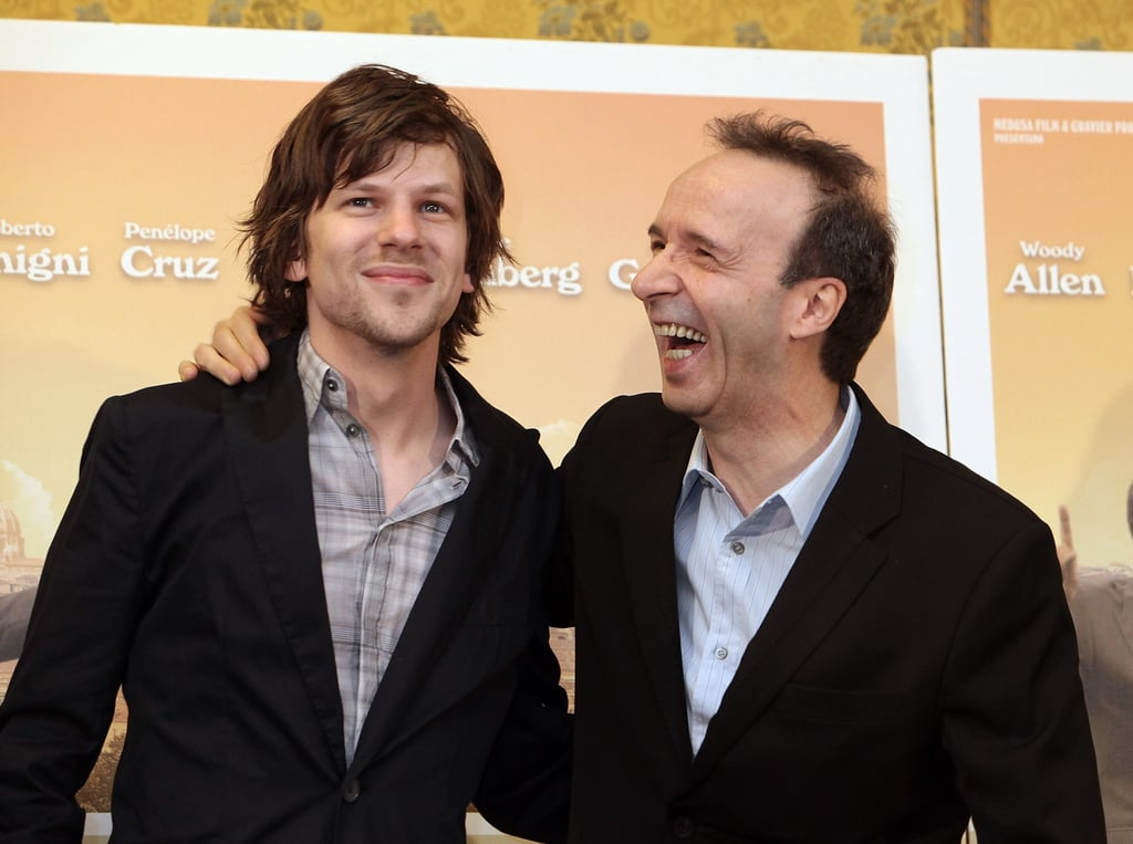 Jesse Eisenberg and Roberto Begnini posed together at a press conference in Rome.