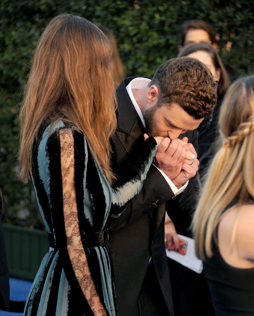 Justin sweetly kissed Jessica's hand at the Critics' Choice Awards in December 2016.