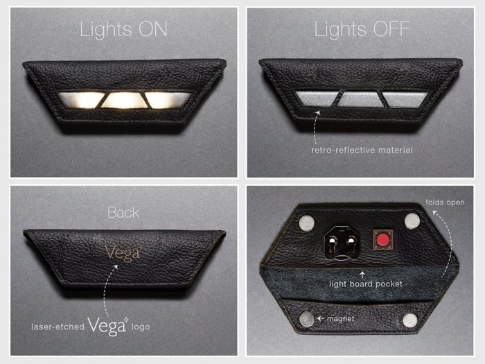 How is it made, you ask? From laser-cut leather, that's how. Using four strong magnets, it snaps securely to your clothes and comes with a thin strip of retroreflective fabric for extra visibility. Oh, and the battery can last up to 20 hours. Practical and stylish — does it get any better?  Source: Vega Edge