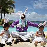 Nick Cannon goofed around with his little Easter bunnies by the pool. Source: Instagram user mariahcarey