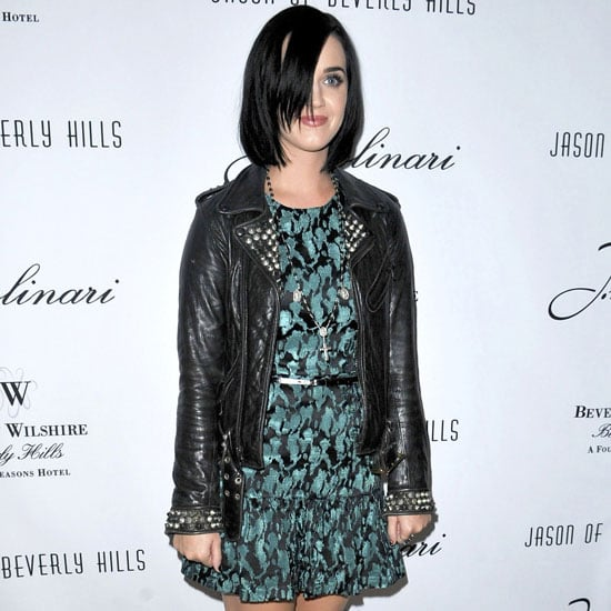 Katy Perry Wearing Green Print Dress