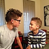 Joaquin and Michael Consuelos compared their new mohawks. Source: Twitter user KellyRipa