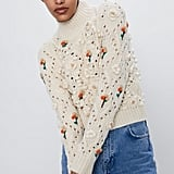 Zara Floral Knit Sweater