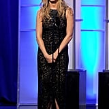 Jennifer took the stage in an ornate lace dress, accented with lots of sparkle and a tulip hemline, in October 2011.