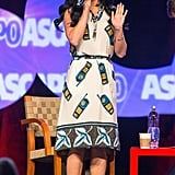 At the I Create Music expo in Hollywood, Katy Perry got cheeky with this Suno telephone-print dress ($650) and studded Aldo sandals.