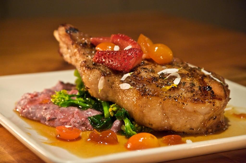 Grilled rose-brined pork chop