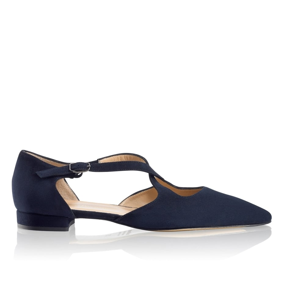 Kate's Russell & Bromley Xpresso Crossover Flat in Blue Suede