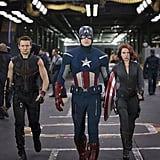 Jeremy Renner as Hawkeye, Chris Evans as Captain America, and Scarlett Johansson as Black Widow in The Avengers.  Photo courtesy of Disney