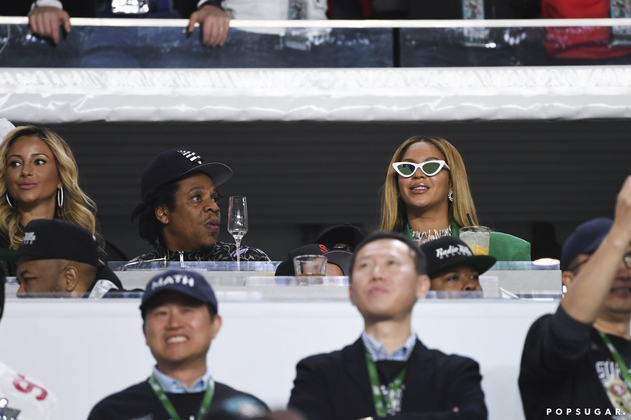 Jay-Z and Beyonce Knowles watch Super Bowl LIV between the San Francisco 49ers and the Kansas City Chiefs held at Hard Rock Stadium in Miami Gardens, Florida on Feb. 2, 2020. (Photo by Anthony Behar/Sipa USA)(Sipa via AP Images)